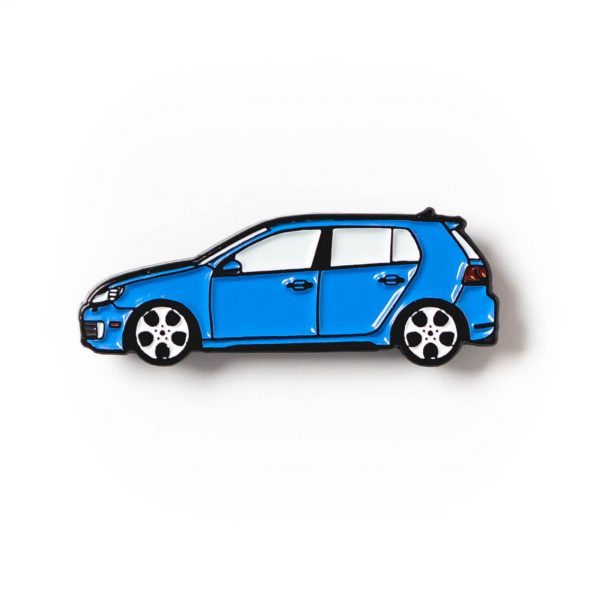 Volkswagen MK6 Golf GTI soft enamel pin in Blue