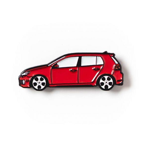 Volkswagen MK6 Golf GTI soft enamel pin in Tornado Red