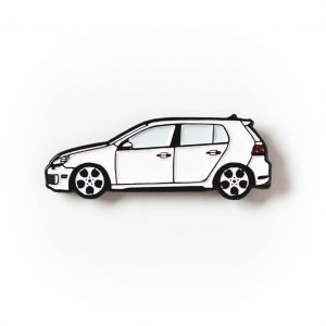 Volkswagen MK6 Golf GTI soft enamel pin in Candy White