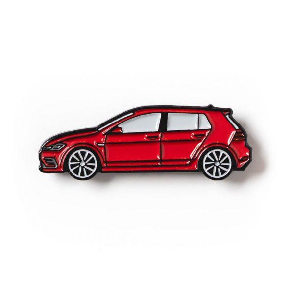 Volkswagen MK7 Golf R soft enamel pin in Tornado Red